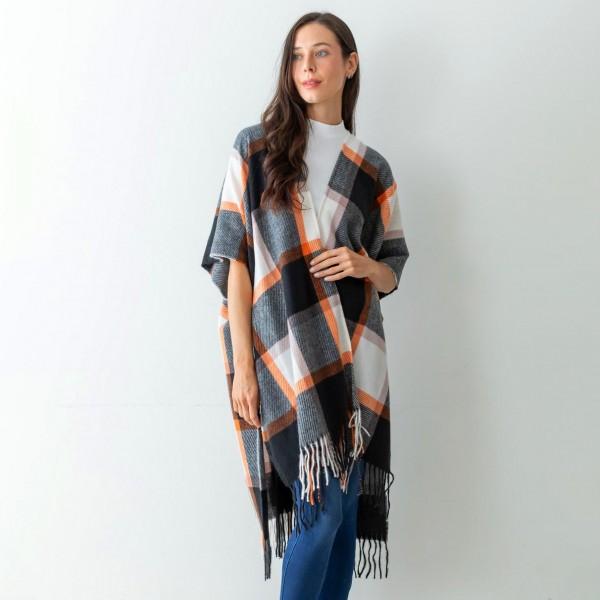 Wholesale women s Black Plaid Knit Ruana Wrap Tassel Edges One Fits Most Polyest