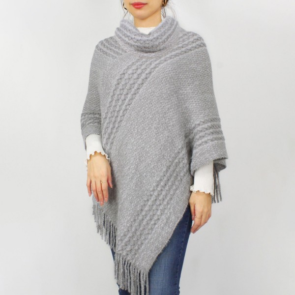 """Women's Knit Poncho Featuring a Turtleneck.  - One Size Fits Most - Approximately 32.5"""" in Length - 50% Polyester, 50% Acrylic"""