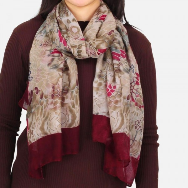 """Lightweight floral printed scarf -Approximately 26"""" W x 70"""" L -100% Polyester"""