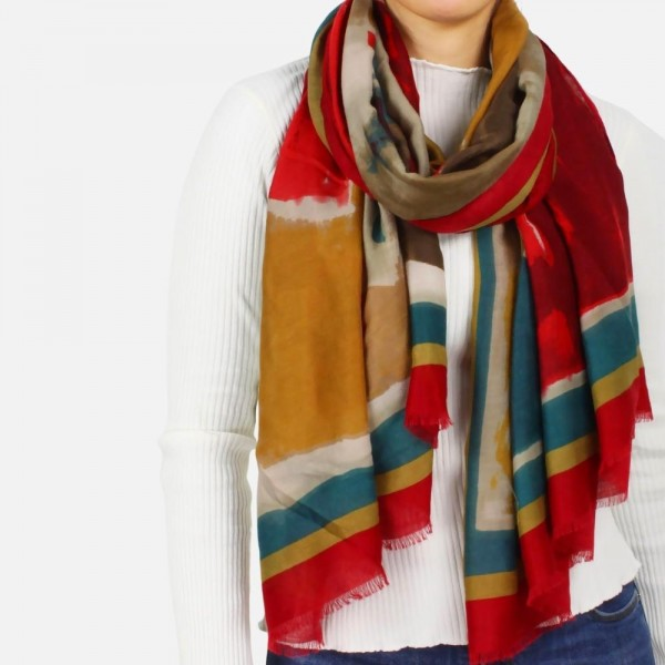 """Lightweight abstract printed scarf -Approximately 73"""" long and 35"""" wide -100% Polyester"""