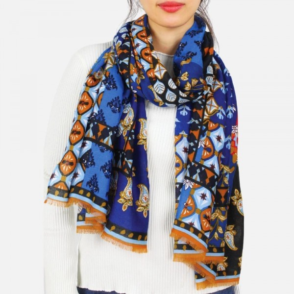 """Lightweight printed scarf -Approximately 73"""" L x 35"""" W -100% Polyester"""