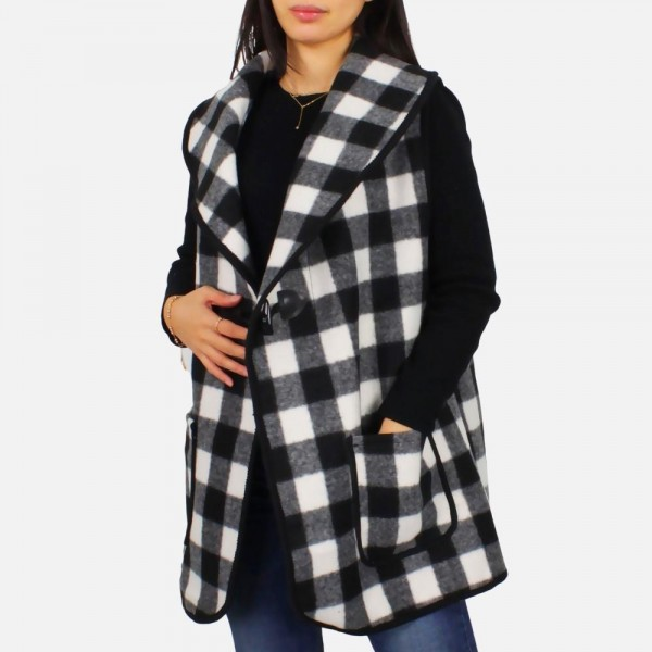 Women's Buffalo Plaid Vest Featuring Toggle Button Closure   - One Size Fits Most (Sizes 0-14) - 100% Polyester