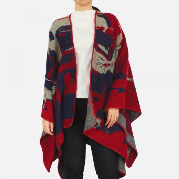 """Abstract printed ruana -One size fits most 0-14 -100% Polyester -Approximately 32"""" long"""