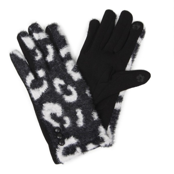 Women's animal printed gloves featuring button detail. -Touchscreen compatible One size fits most -100% Polyester