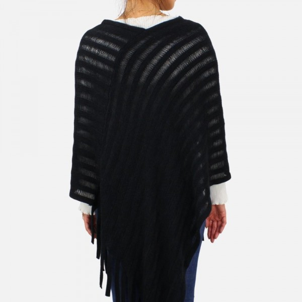 Poncho featuring fringe tassels -One size fits most 0-14 -100% Acrylic