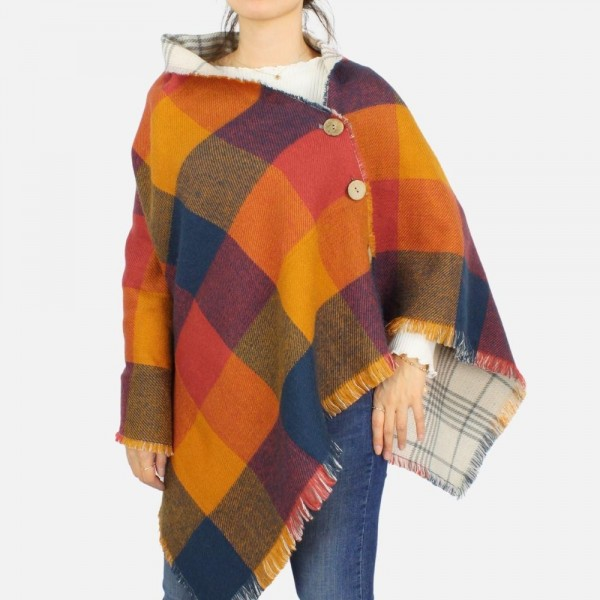 Reversible Plaid Poncho featuring button details and frayed edges -One size fits most 0-14 -100% Acrylic