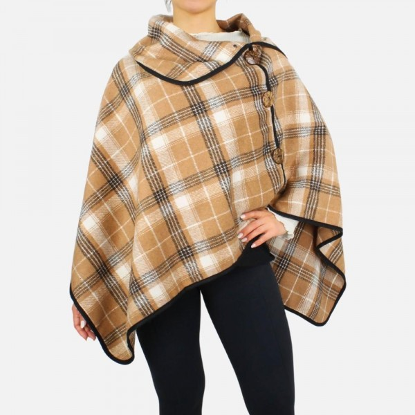 Plaid poncho featuring button detail and cowl neck -One size fits most 0-14 -100% Polyester