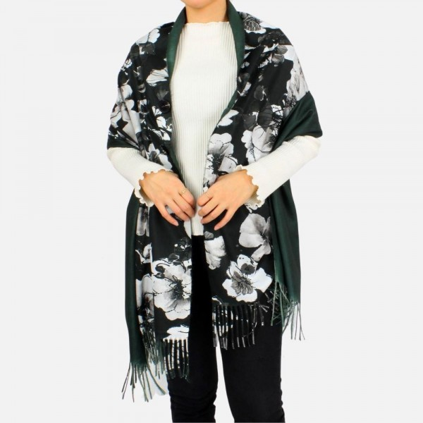 """Lightweight Floral Printed Scarf Featuring Button Closure  -Approximately 73"""" L x 27.5"""" W -100% Polyester"""