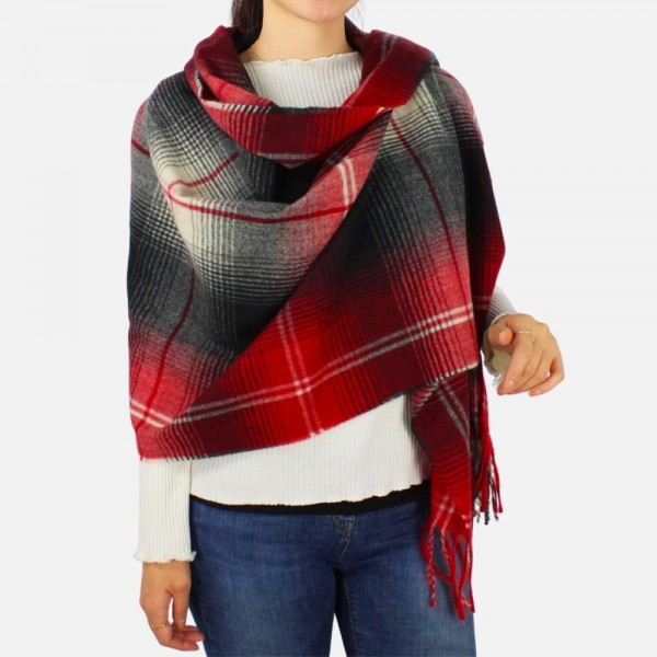 """Soft Plaid scarf with fringe tassels - Approximately 27"""" W x 72"""" L -100% Polyester"""