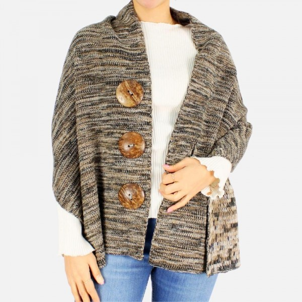 Convertible knit poncho sweater featuring 3 large button accents -One size fits most 0-14 -100% Acrylic