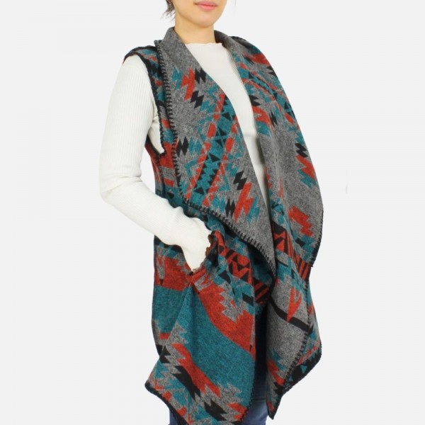 Aztec printed vest with side pockets -One size fits most 0-14 -100% Polyester