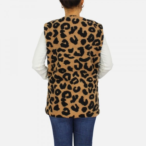 Plush animal print vest with pockets -One size fits most 0-14 -100% Polyester