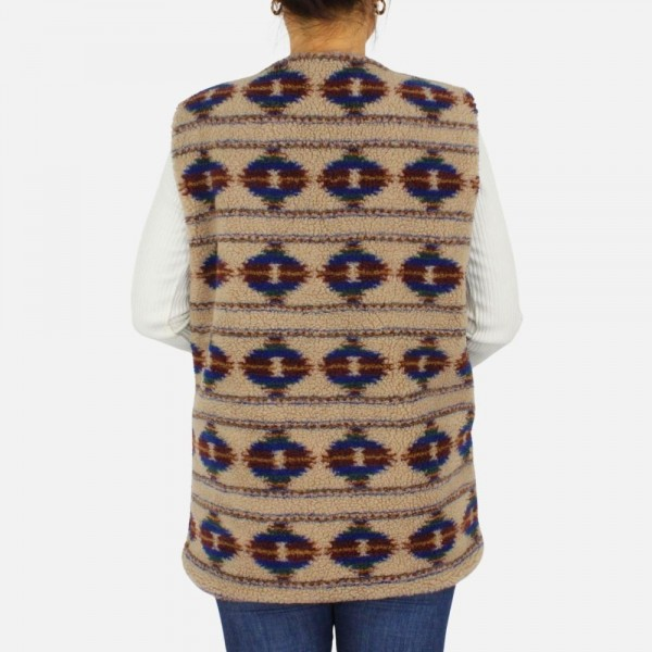 Plush printed vests with pockets -One size fits most 0-14 -100% Polyester