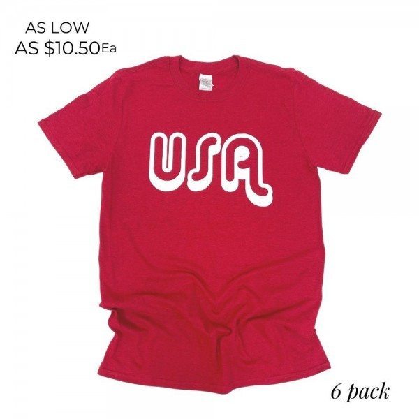 USA Patriotic Graphic Tee. (6 Pack)  - Printed on a Gildan Brand Tee - Color: Red - 6 Shirts Per Pack - Sizes: 1:S 2:M 2:L 1:XL - 50% Cotton, 50% Polyester