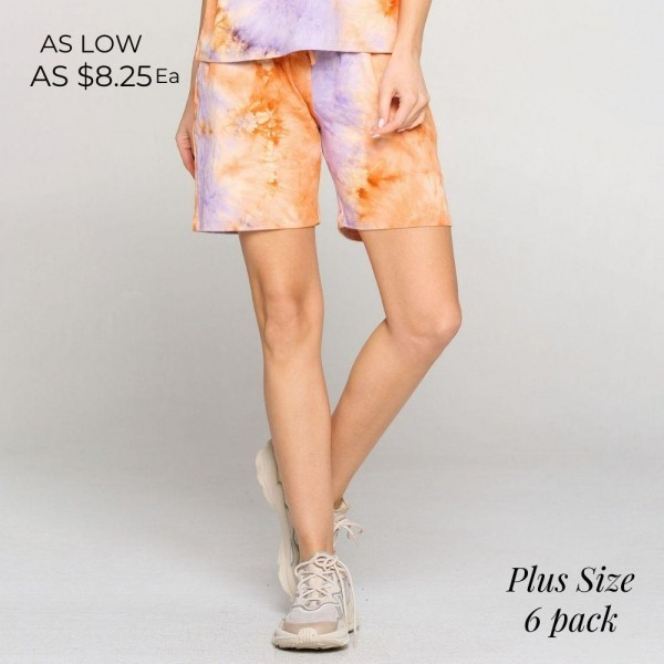 Plus Size Tie-Dye Lounge Shorts featuring an elasticized waistband, two pockets and a mid-thigh length hem. (6 Pack)   • Elasticized waistband • Faux drawstring • Two pockets for keeping your hands warm • Relaxed fit • Soft and stretchy • Comfortable for lounging at home   Composition: 95% Polyester, 5% Spandex  Pack Breakdown: 6pcs/pack. XL