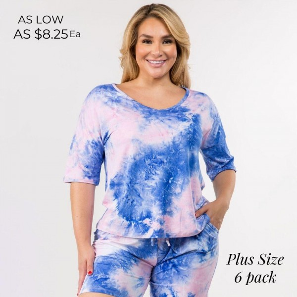 Plus Size Tie Dye Tops  (6 Pack)  -Tie-dye design -Dropped shoulder seams -Mid-length short sleeve -Short sleeves -V-neck -Relaxed fit -Soft and stretchy -Comfortable for lounging at home  - 6 Tops Per Pack  - Pack Breakdown: 6pcs/pack. 2XL:2XXL:2XXXL