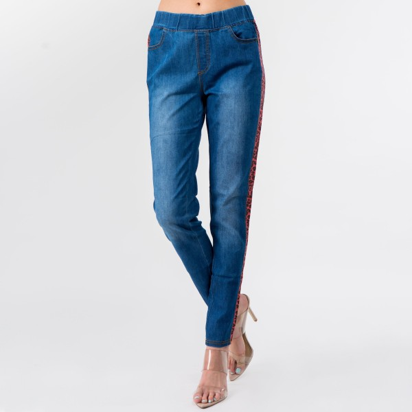 """Stretchy denim coral leopard print side stripe jeggings featuring pull on style with front and back pockets.  - Pack Breakdown: 6pcs / pack - Sizes: 2S / 2M / 2L - Inseam approximately 28"""" in length - 76% Cotton, 22% Polyester, 2% Spandex"""