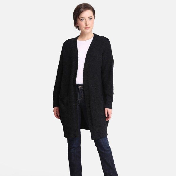 Comfy Luxe Solid Sherpa Cardigan Featuring Pockets   - One size fits most 0-14 -  100% Polyester