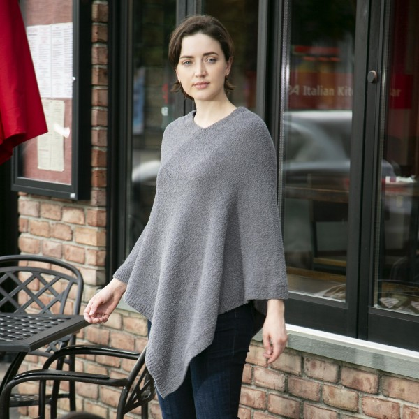 """Comfy Luxe Solid Poncho   - Approximately 33"""" Long  - 100% Polyester"""