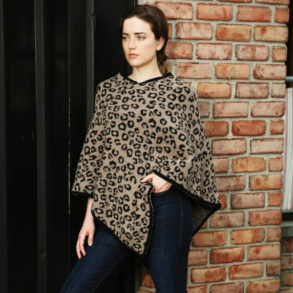 Comfy Luxe Animal Print Poncho   -One size fits most 0-14 -100% Polyester