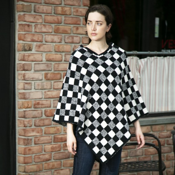 Checkered Print Poncho   -One size fits most 0-14 -100% Polyester