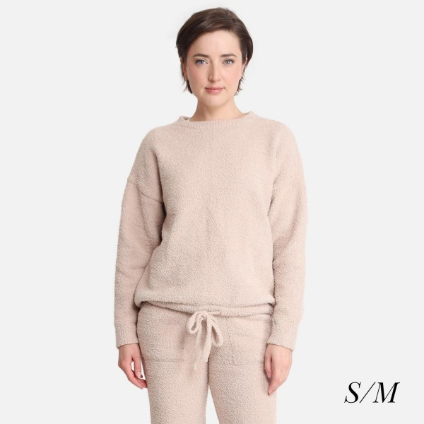 """Comfy Luxe Women's Long Sleeve Lounge Top   - Size: S/M (Sizes 2-8) - Approximately 24"""" in Length - Soft and comfortable fabric with stretch - Comfortable, relaxed fit - 100% Polyester"""