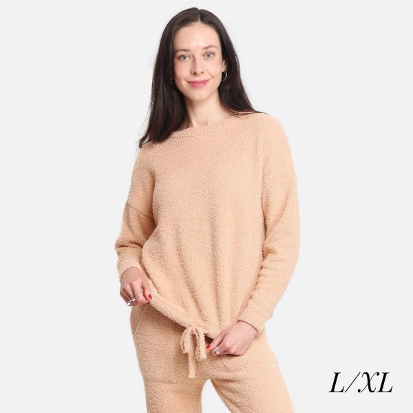 """Comfy Luxe Women's Long Sleeve Lounge Top  - Size: L/XL (Sizes 10-14) - Approximately 25"""" in Length - Soft and comfortable fabric with stretch - Comfortable, relaxed fit - 100% Polyester"""