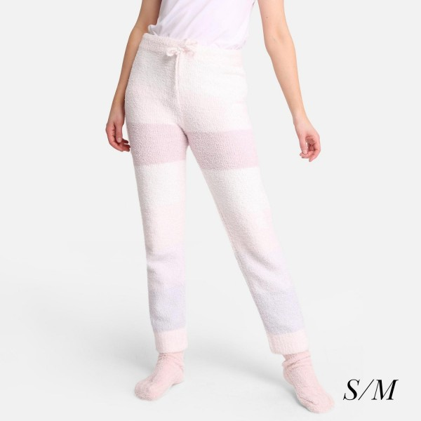 """Comfy Luxe Ultra Plush Lounge Pants - Size S/M: US Women's Size 2-8 - Drawstring Elastic Waist Band - Pockets - 28"""" Inseam - 100% Polyester Microfiber"""