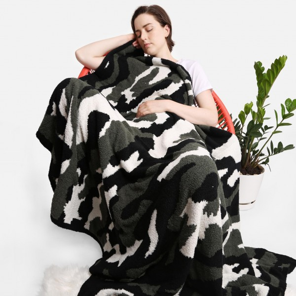"""Super Soft Jacquard Camoufalge Comfy Luxe Knit Blanket. The Softest Throw Blanket Made of the Highest Quality Material. So Soft You Have to Feel Them for Yourself. This Luxurious Throw is a Guaranteed Best Seller this Season!   - Approximately 50"""" W x 60"""" L -100% Polyester  - Extra Plush and Cozy"""