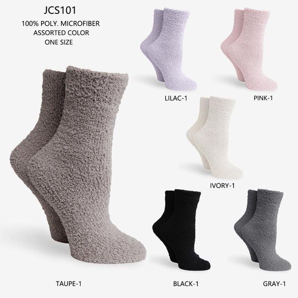 Women's Super Soft Fuzzy Knit Socks (Assorted 6 Pack)   - 6 Pairs of Socks Per Pack - Assorted Colors (6 Colors Per Pack) - One Size Fits Most (Sizes Adult 6-11)