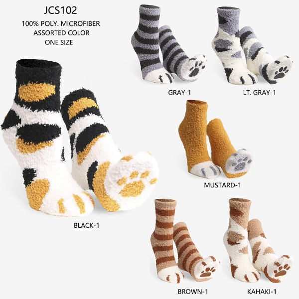 Women's Super Soft Fuzzy Knit Socks Featuring Rubber Paw Print Sole(Assorted 6 Pack)   - 6 Pairs of Socks Per Pack - Assorted Colors (6 Colors Per Pack) - One Size Fits Most (Sizes Adult 6-11) - Rubber Paw Print Sole