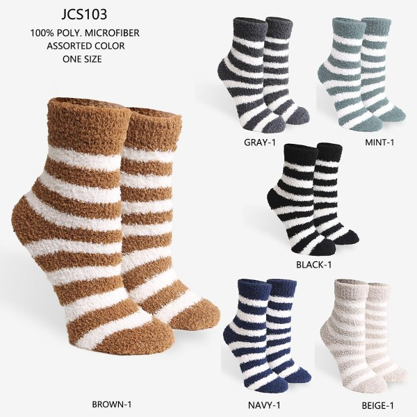 Women's Striped Super Soft Fuzzy Knit Socks (Assorted 6 Pack)   - 6 Pairs of Socks Per Pack - Assorted Colors (6 Colors Per Pack) - One Size Fits Most (Sizes Adult 6-11)