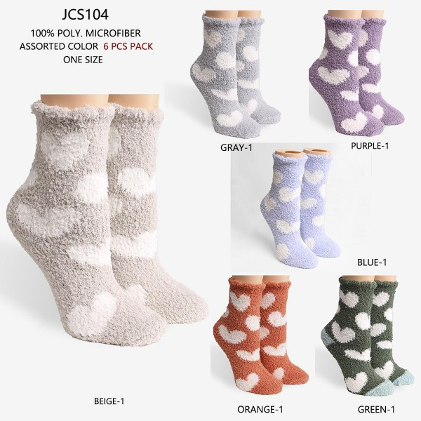 Women's Super Soft Heart Fuzzy Knit Socks (Assorted 6 Pack)   - 6 Pairs of Socks Per Pack - Assorted Colors (6 Colors Per Pack) - One Size Fits Most (Sizes Adult 6-11)