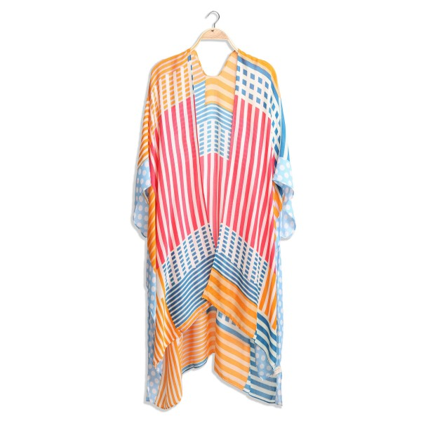 """Women's Lightweight Geo Polka Dot Stripe Kimono.  - One size fits most 0-14 - Approximately 37"""" in Length - 100% Viscose"""