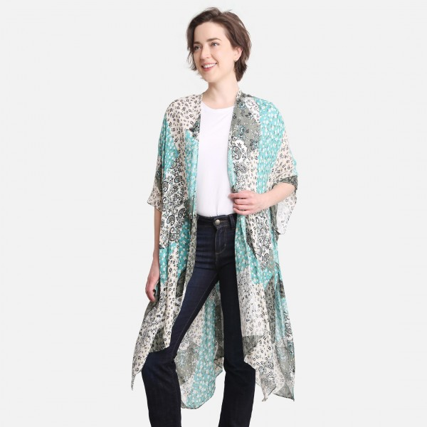 """Floral and Paisley Patchwork Print Kimono.   - One Size Fits Most 0-14 - 100% Viscose - Approximately 38"""" L"""