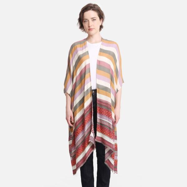 "Multicolor Striped Kimono.  - One Size Fits Most 0-14 - 100% Viscose - Approximately 38"" L"