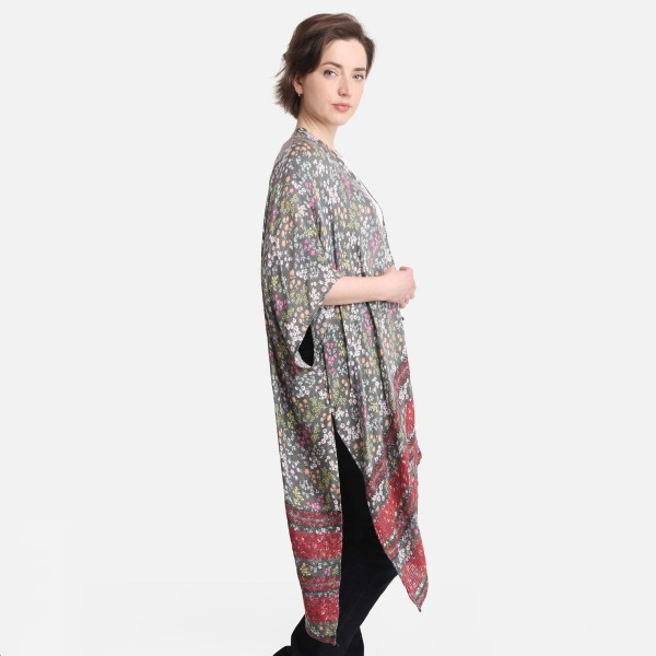 """Floral Print Kimono Featuring Striped Accents.   - One Size Fits Most 0-14 - 100% Viscose - Approximately 38"""" L"""