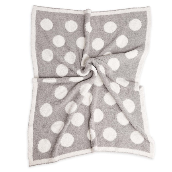 """Super Soft Polka Dot Comfy Luxe Knit Baby Blanket. The Softest Throw Blanket Made of the Highest Quality Material. So Soft You Have to Feel Them for Yourself. This Luxurious Throw is a Guaranteed Best Seller this Season!  - Approximately 29"""" W x 35"""" L - 100% Polyester - Extra Plush and Cozy"""