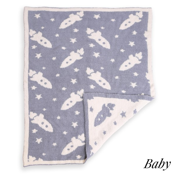 Wholesale super Soft Rocket Ship Print Comfy Luxe Knit Baby Blanket Softest Thro