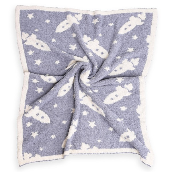 """Super Soft Rocket Ship Print Comfy Luxe Knit Baby Blanket. The Softest Throw Blanket Made of the Highest Quality Material. So Soft You Have to Feel Them for Yourself. This Luxurious Throw is a Guaranteed Best Seller this Season!  - Approximately 29"""" W x 35"""" L - 100% Polyester - Extra Plush and Cozy"""