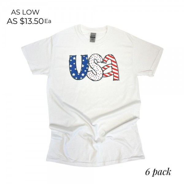 Wholesale uSA Doodle Graphic Tee Pack Printed Gildan Softstyle Brand Tee Color W