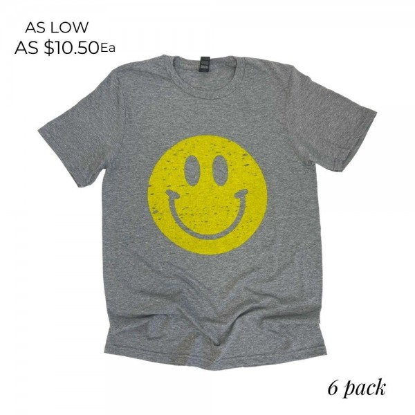 Wholesale distressed Smiley Graphic Tee Printed Anvil Brand Tee Color Grey Shirt