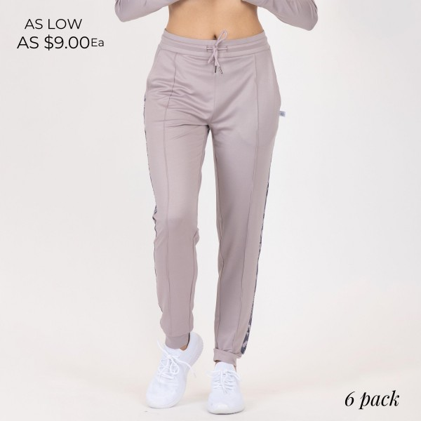 Full Length Jogger Sweatpants With Pockets and Drawstrings. (6 Pack)  - Full Length Jogger Sweatpants - Floral Pattern Down the Side - 2 Pockets - Fashionable and functional elastic waistband & ankles that provide a secure flattering fit - Material: 90% Polyester, 10% Spandex - Sizes: 1-S, 2-M, 2-L, 1-XL