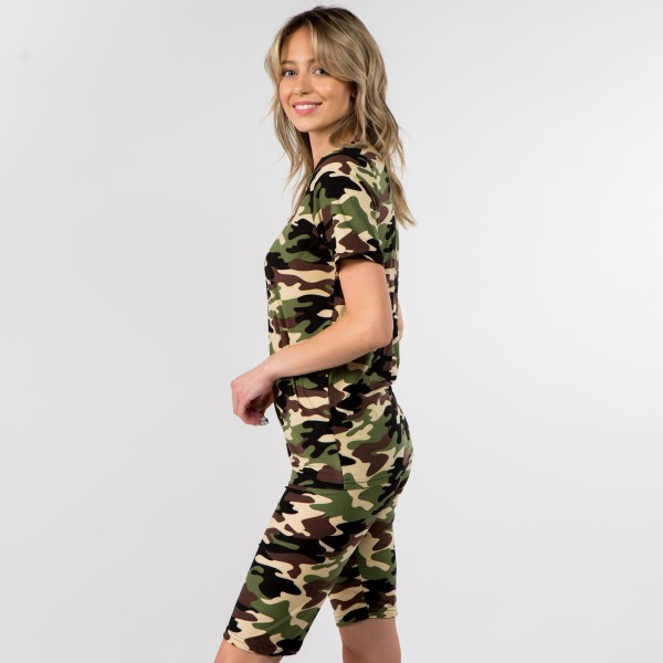 """Women's New Mix Brand Camouflage Short Sleeve Top & Biker Short Set. (6 pack)   - Set Includes Short Sleeve Top & Shorts  - Soft, Smooth & Cool Feel Material  - Bottoms: 1"""" Elastic Waistband  - Inseam 10"""" Long  - Top: Rounded Neckline  - 6 Sets Per Pack  - Sizes: 2:S 2:M 2:L  - 92% Polyester / 8% Spandex"""