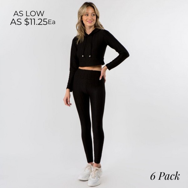"""Honey-Comb """"Tik-Tok"""" Activewear Set Including Cropped Hoodie & Brazilian Butt Lifting Leggings. (6 Pack)  - 65%Cotton, 30%Polyester, 5%Spandex - 6 Sets Per Pack - Cropped Hoodie Includes Drawstring and Elastic Waistband  - Full Length Leggings Feature Elastic Waistband  - Sizes: 3-S/M, 3-L/XL"""