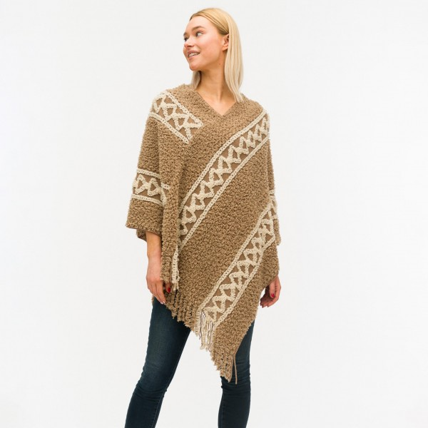 Soft Two-Tone Poncho.   - One Size Fits Most 0-14 - 50% Acrylic, 50% Polyester