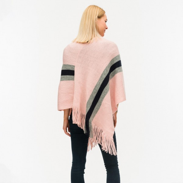 Knit poncho featuring striped detail and fringe tassels -One size fits most 0-14 -100% Acrylic