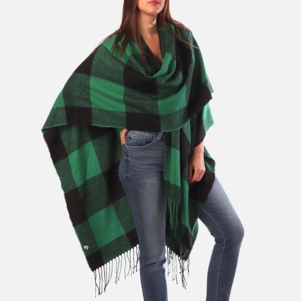 Buffalo check ruana -One size fits most 0-14 -100% Polyester
