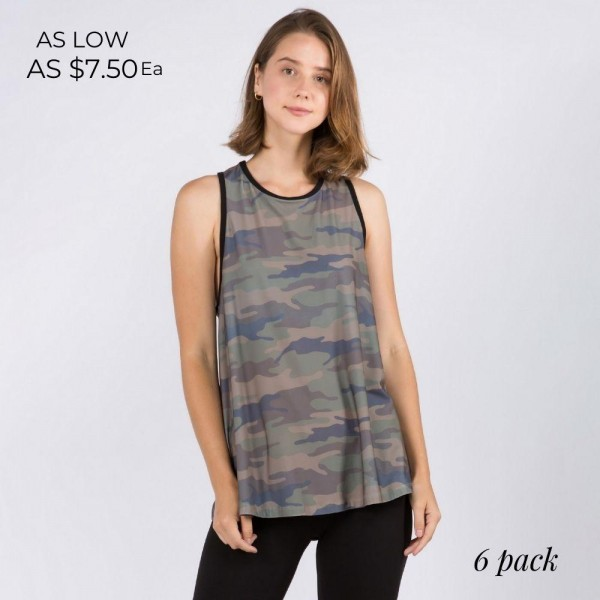 Camouflage Tank Top Featuring Flirty Split Back Detail. (6 Pack)  • Sleeveless • Crewneck • Camouflage print • Split back detail • Flowy silhouette • Lined edge trimming throughout • Soft and comfortable • Pair with biker shorts and sneakers for a laid-back style - 6 Tank Tops Per Pack  Pack Breakdown: 6pcs/pack. 2S: 2M: 2L