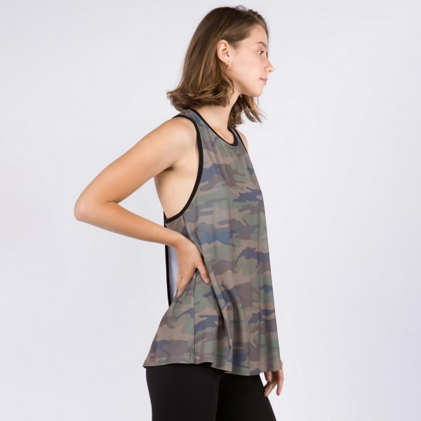 Plus Size Camouflage Tank Top Featuring Flirty Split Back Detail. (3 Pack)  • Sleeveless • Crewneck • Camouflage print • Split back detail • Flowy silhouette • Lined edge trimming throughout • Soft and comfortable • Pair with biker shorts and sneakers for a laid-back style  - 3 Tank Tops Per Pack  Pack Breakdown: 3pcs/pack. XL